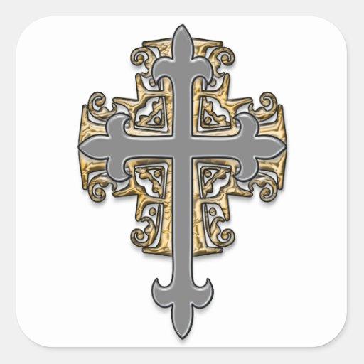 Cruz del oro y de la plata pegatina cuadrada