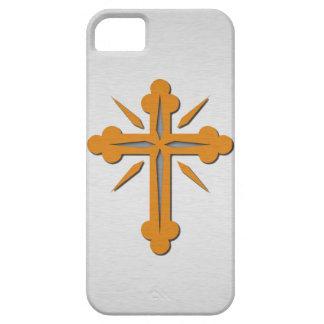 Cruz del oro y metal del acero inoxidable del iPhone 5 carcasa