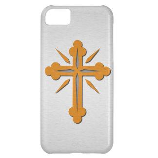 Cruz del oro y metal del acero inoxidable del plat funda para iPhone 5C