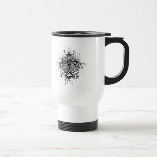 Cruz del rezo de la familia de la fe - cáncer del  taza de café