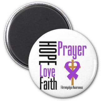 Cruz del rezo de la fe del amor de la esperanza de imán redondo 5 cm