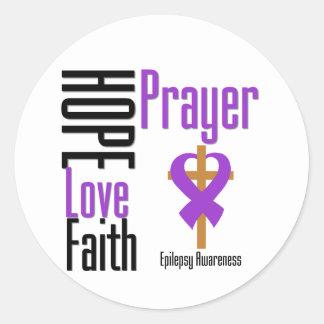 Cruz del rezo de la fe del amor de la esperanza de pegatina redonda