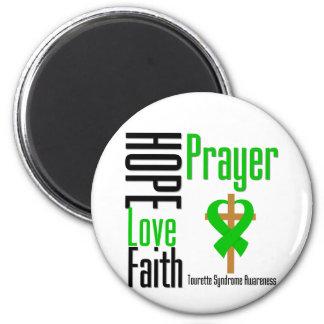Cruz del rezo de la fe del amor de la esperanza imán redondo 5 cm