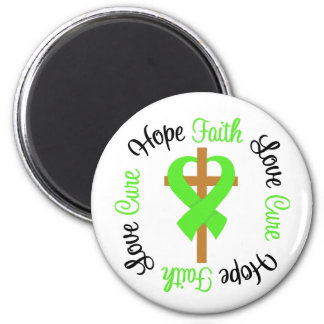 Cruz del rezo del amor de la fe de la esperanza de imán redondo 5 cm