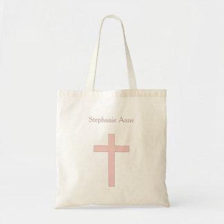 Cruz del rosa en colores pastel de la comunión bolsa tela barata