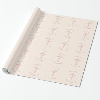 Cruz del rosa en colores pastel de la comunión papel de regalo