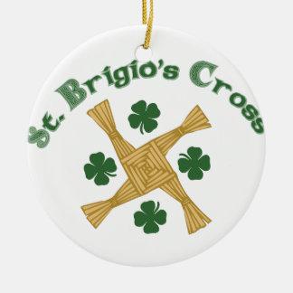 Cruz del St. Brigids Adorno Navideño Redondo De Cerámica