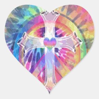 Cruz del teñido anudado pegatina en forma de corazón
