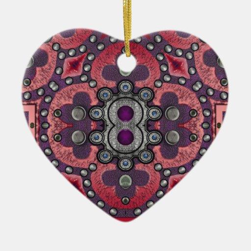 cruz del terciopelo adorno navideño de cerámica en forma de corazón