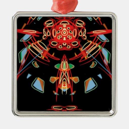 Cruz del vitral en negro, rojo y oro ornaments para arbol de navidad