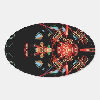 Cruz del vitral en negro, rojo y oro pegatina ovalada