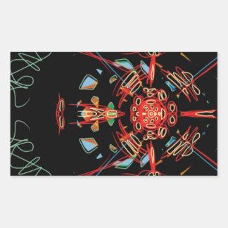 Cruz del vitral en negro, rojo y oro pegatina rectangular