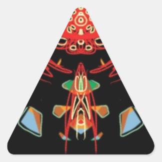 Cruz del vitral en negro, rojo y oro pegatina triangular
