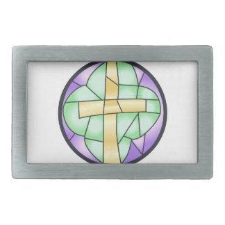 Cruz del vitral hebilla cinturón rectangular