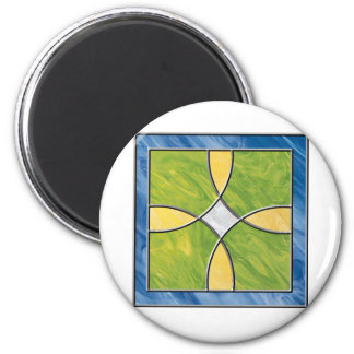 Cruz del vitral imán redondo 5 cm