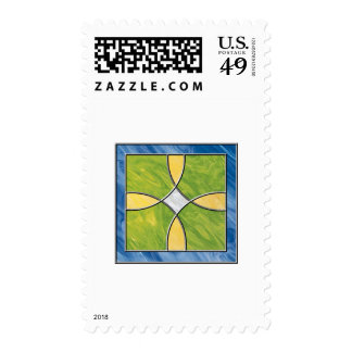 Cruz del vitral sellos postales
