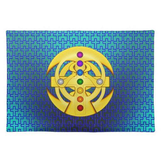 Cruz diseñada copta de la buena suerte mantel