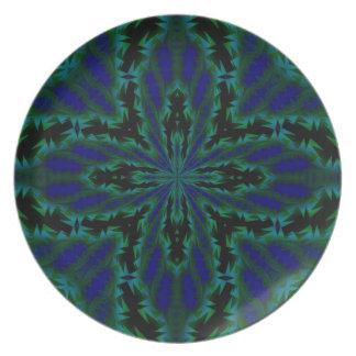 Cruz doble en azul real y verde plato