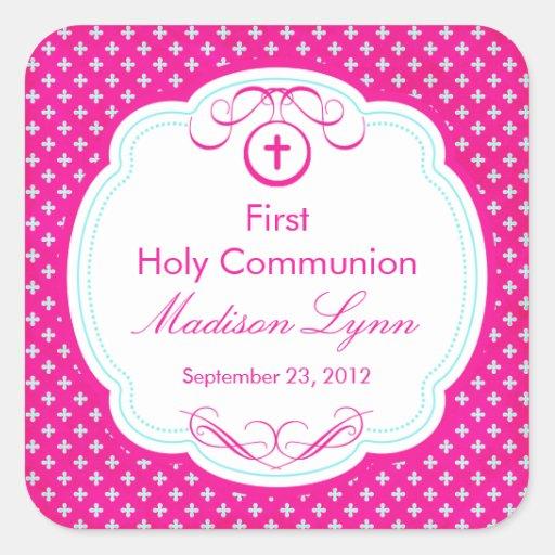 Cruz dulce en el primer rosa de la comunión santa calcomanía cuadradas personalizada