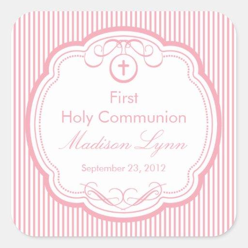 Cruz dulce en el primer rosa de la comunión santa calcomanías cuadradass personalizadas