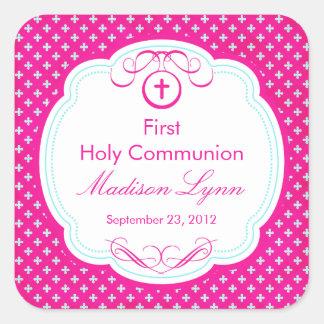 Cruz dulce en el primer rosa de la comunión santa pegatina cuadrada