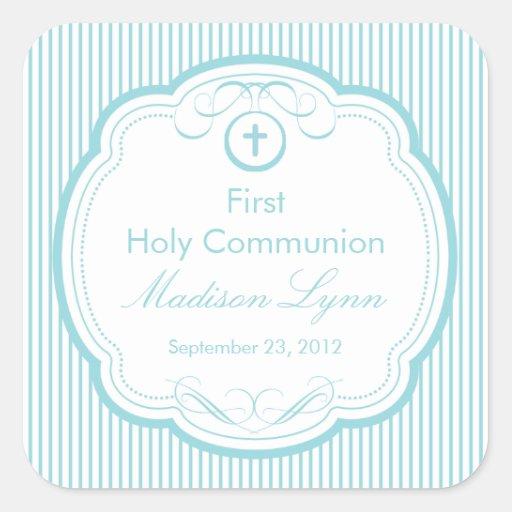 Cruz dulce en la primera comunión santa del marco calcomania cuadradas personalizada