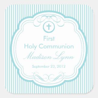Cruz dulce en la primera comunión santa del marco pegatina cuadrada