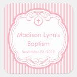 Cruz dulce en rosa del sello del favor del bautism calcomania cuadradas personalizadas