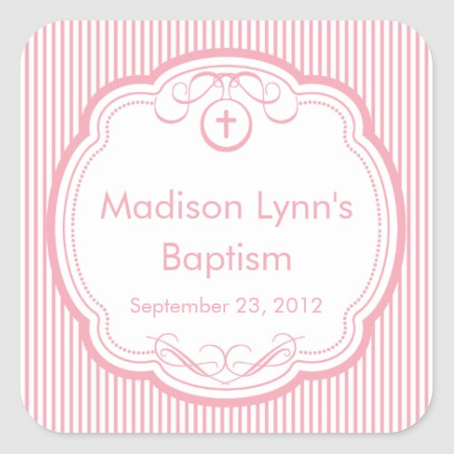 Cruz dulce en rosa del sello del favor del calcomanía cuadradas personalizada