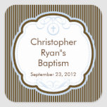 Cruz dulce en sello del favor del bautismo del mar calcomanía cuadrada personalizada