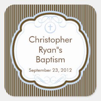 Cruz dulce en sello del favor del bautismo del pegatina cuadrada