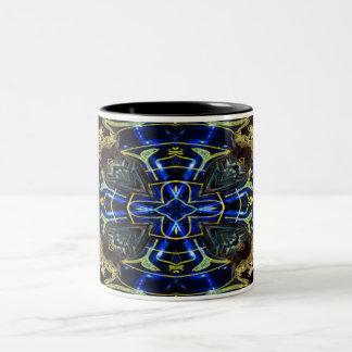 Cruz eléctrica del medallón del azul y del oro en taza de dos tonos