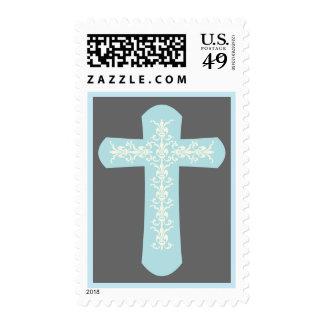 Cruz elegante en azul en gris
