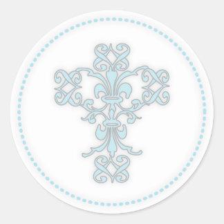 Cruz elegante en azul pegatina redonda