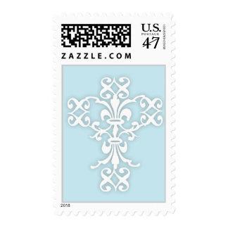 Cruz elegante en blanco y azul sello postal