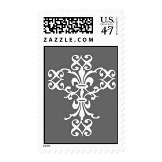 Cruz elegante en blanco y gris sellos postales