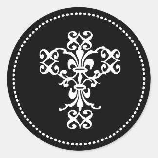 Cruz elegante en blanco y negro etiquetas redondas