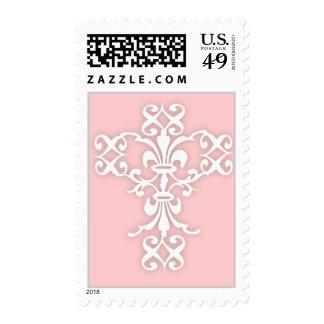 Cruz elegante en blanco y rosa sellos
