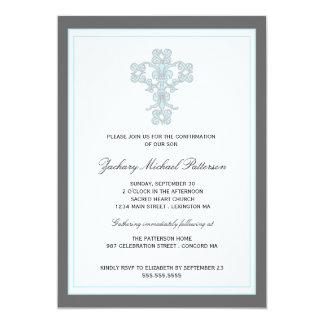 Cruz elegante en la invitación azul de la invitación 12,7 x 17,8 cm