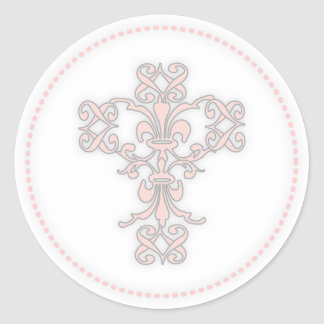 Cruz elegante en rosa pegatina redonda