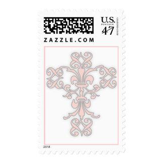 Cruz elegante en rosa timbres postales