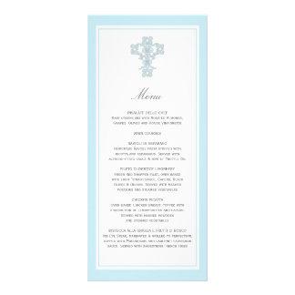 Cruz elegante en tarjeta azul del estante de la pá tarjeta publicitaria