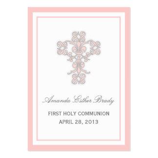 Cruz elegante en tarjeta de etiqueta rosada del fa tarjeta de visita