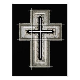 Cruz en blanco y negro. postal