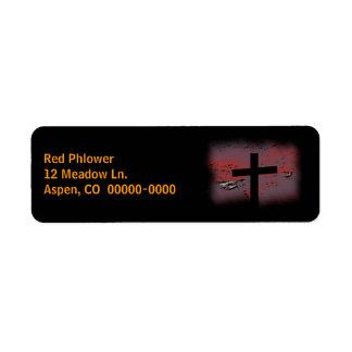 Cruz en negro etiqueta de remitente