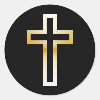 Cruz en oro o plata azul negro etiquetas redondas