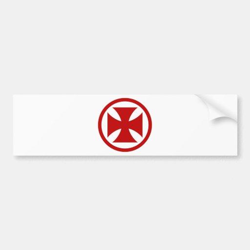 Cruz en rojo del círculo pegatina para auto