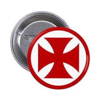 Cruz en rojo del círculo pin redondo de 2 pulgadas