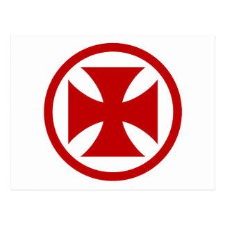 Cruz en rojo del círculo tarjetas postales