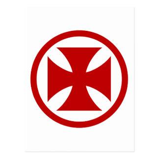 Cruz en rojo del círculo postal